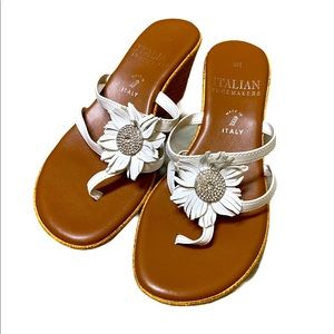Italian shoemakers sunflower white wedge sandals